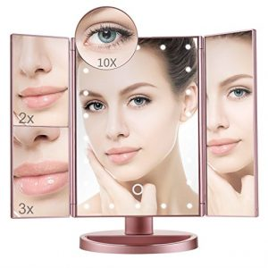 Lighted Makeup Mirror Trifold