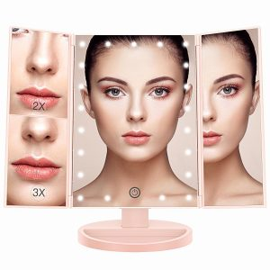 Makeup Vanity Trifold Mirror With Led Lights
