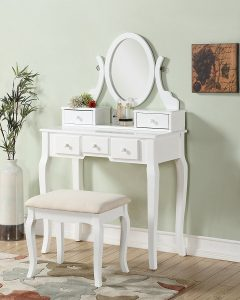 Roundhill Makeup Vanity Table and Stool Set
