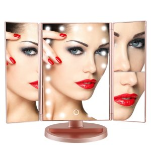 Trifold Lighted Vanity Makeup Mirror