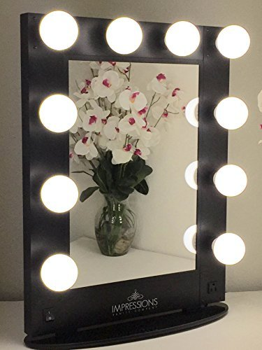 Vanity Mirror With LED Bulbs Black