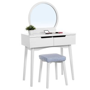 Vanity Table Set With Round Mirror