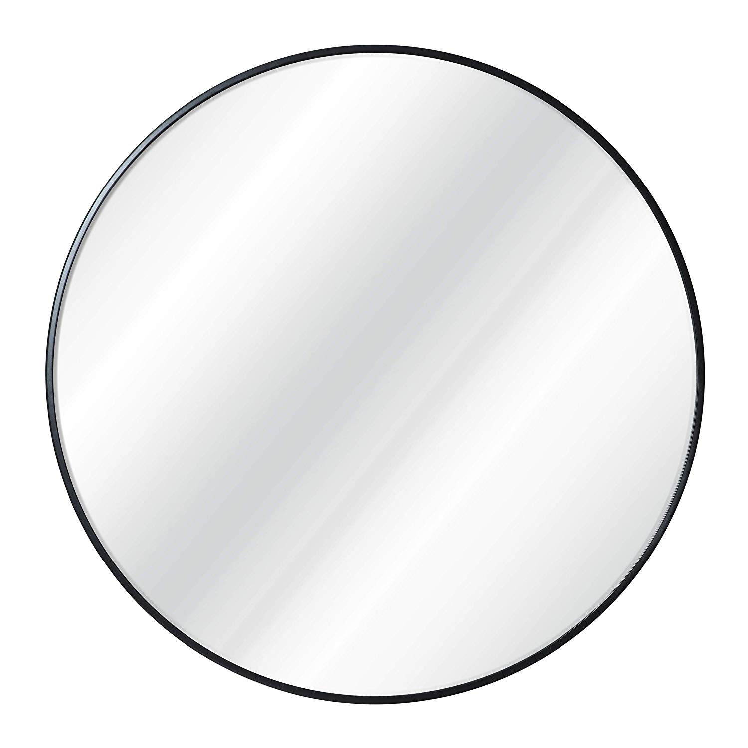 Black round wall mirror