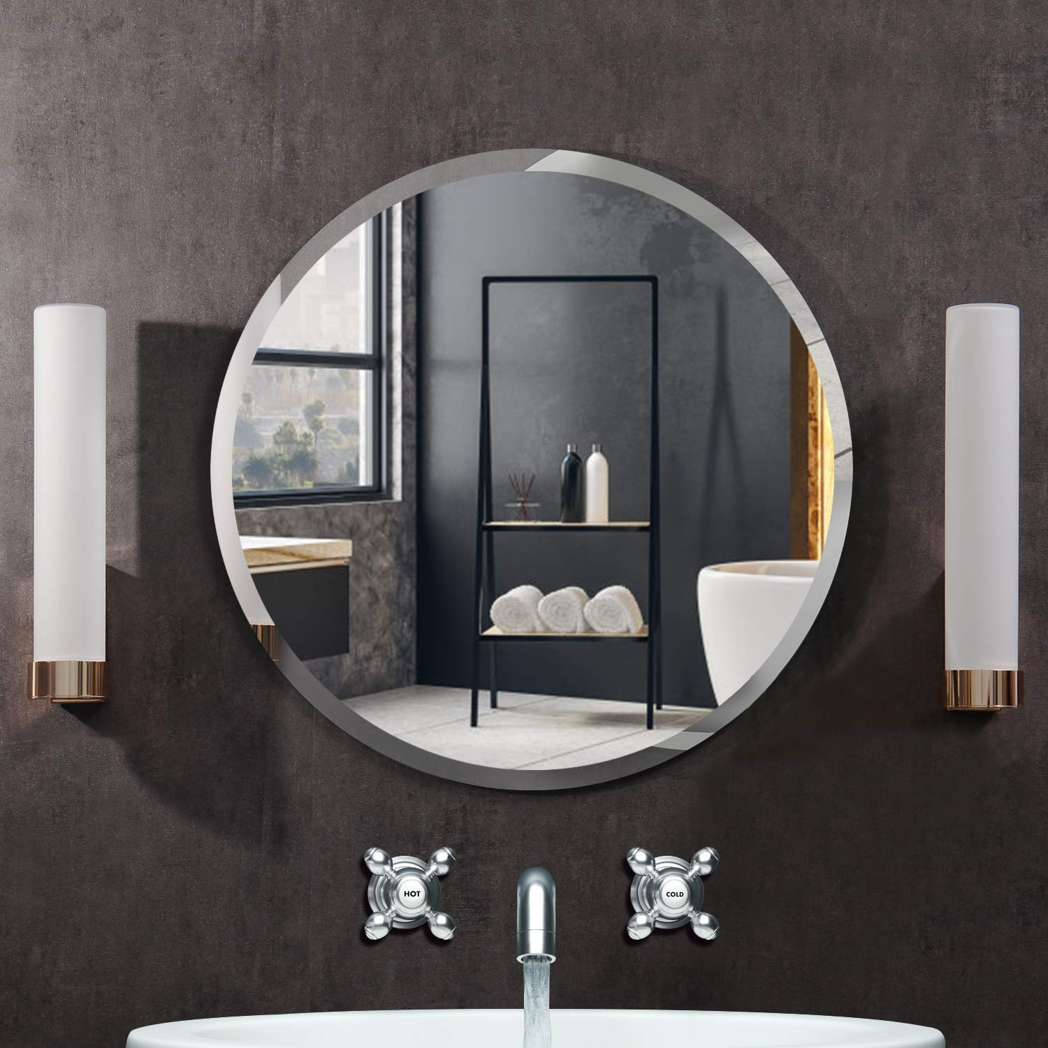 Polished framless wall mirror