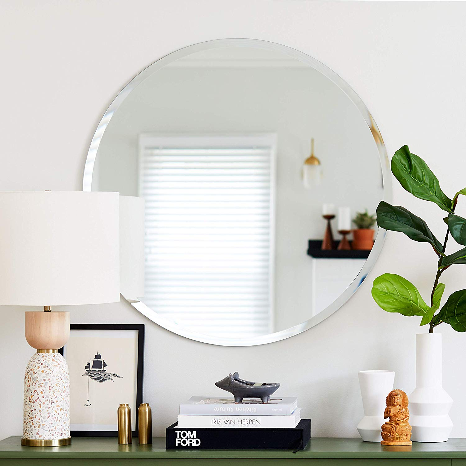 Round shape framless wall mirror