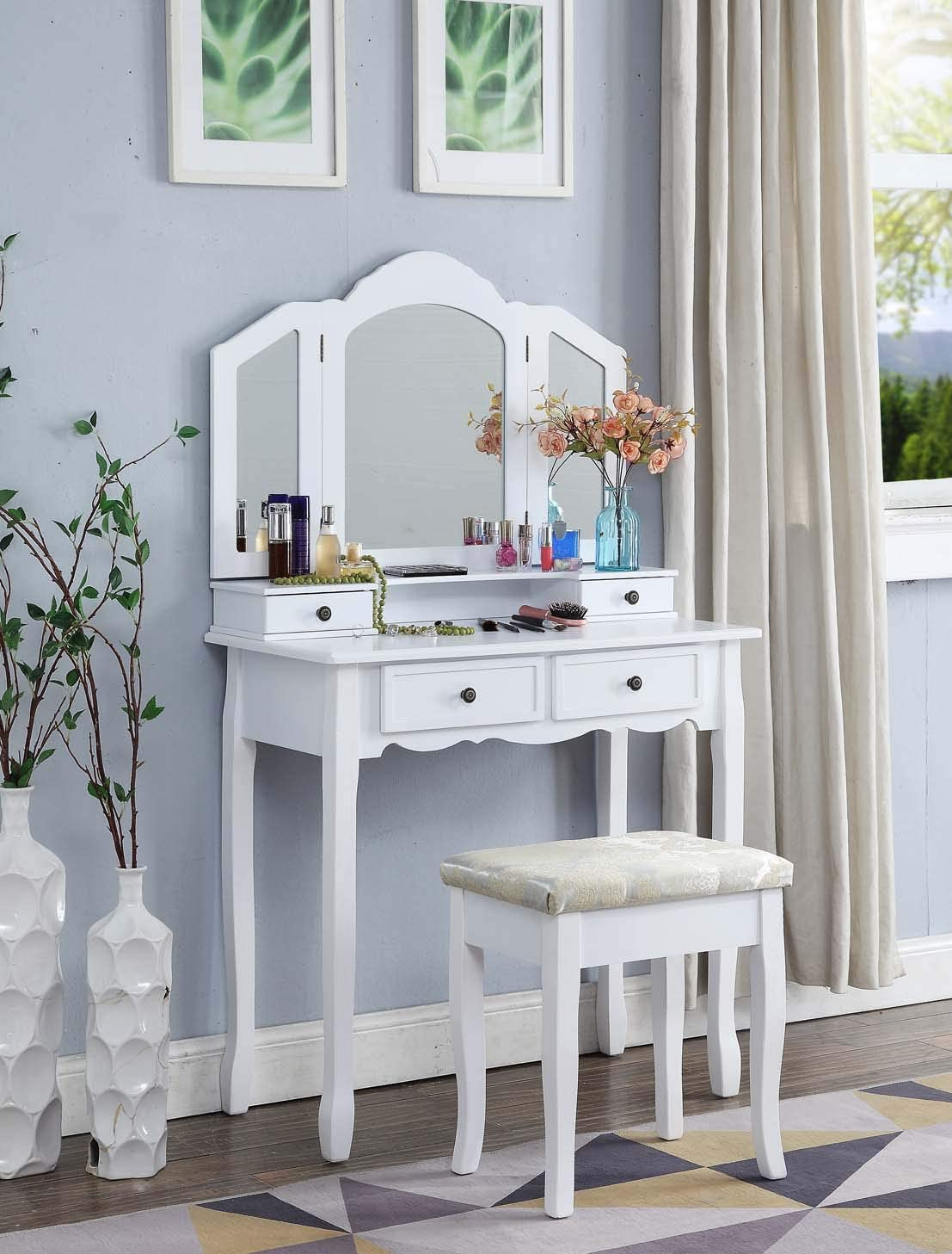 Roundhill Furniture Sanlo White Wooden Vanity