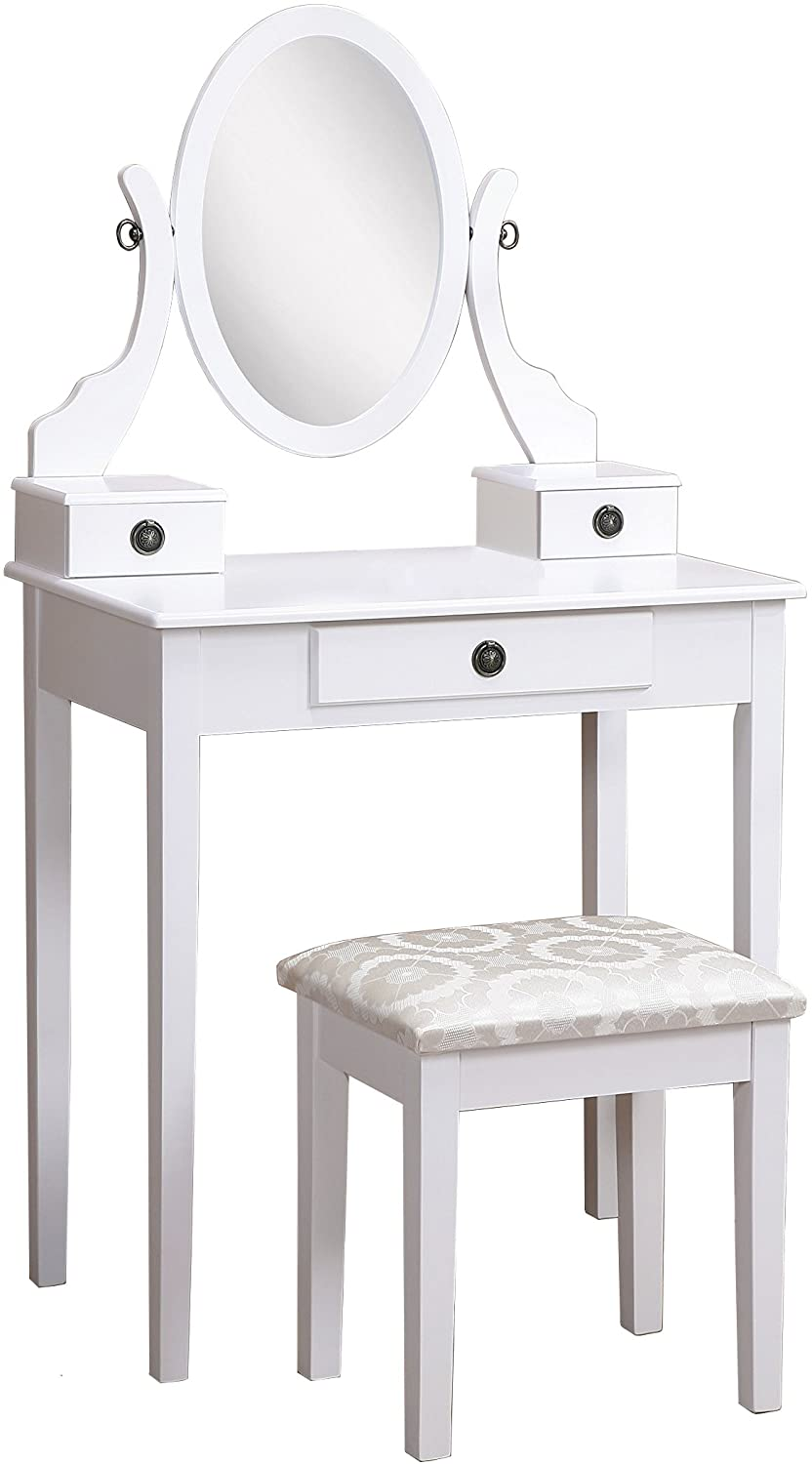 Roundhill Furniture Moniya White Wood Vanity Table